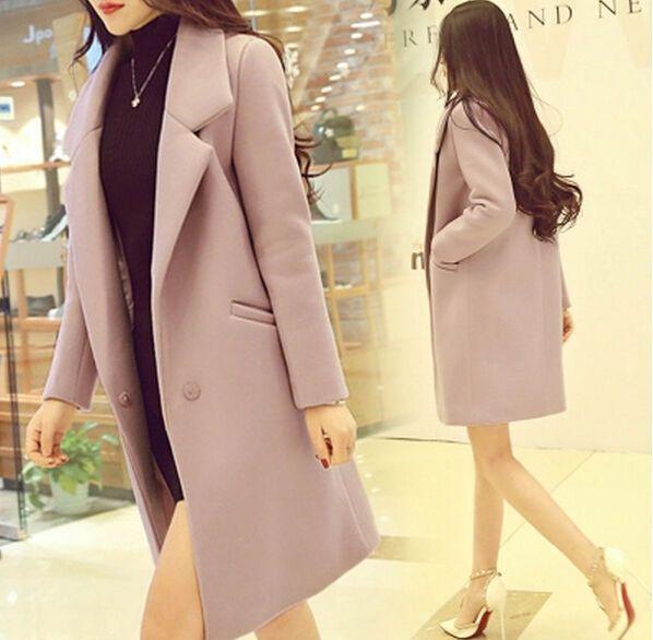 Fashion Women Winter Slim Long Sleeve One Button Overcoat Jacket Windbreaker