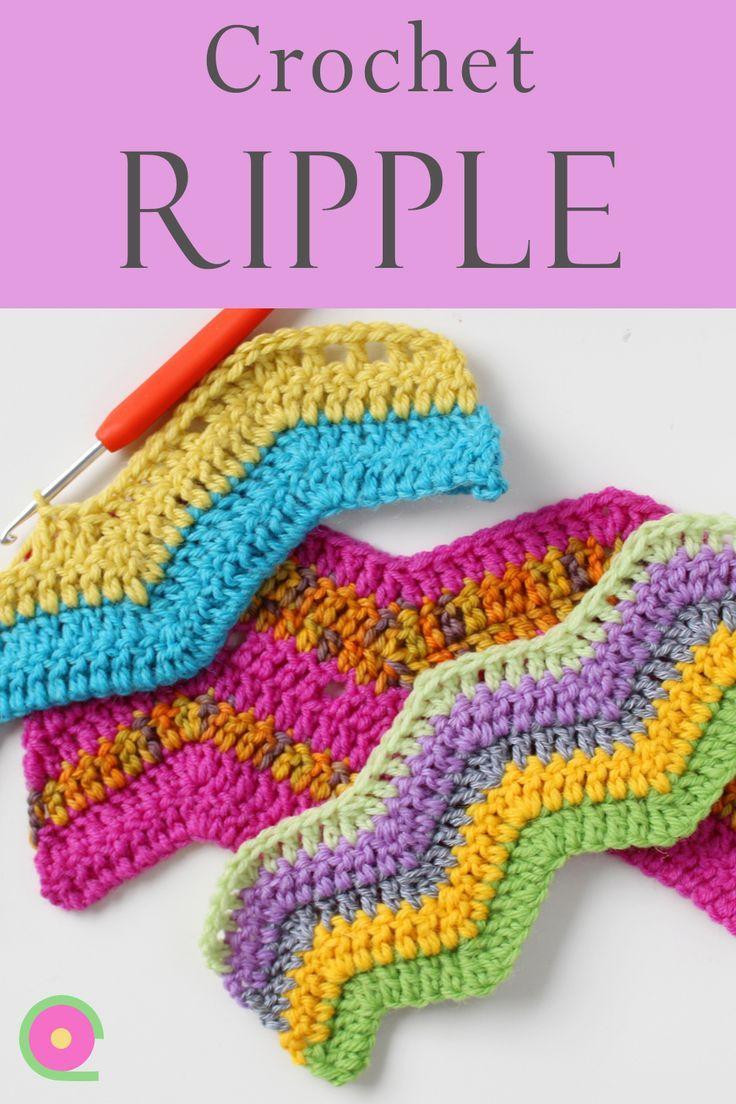 How to crochet zig-zag (ripple stitch, chevrons, waves). Ideal baby blanket stitch
