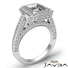 1.25 Ct Halo Setting Diamond Engagement Emerald Semi Mount Ring 14K White Gold