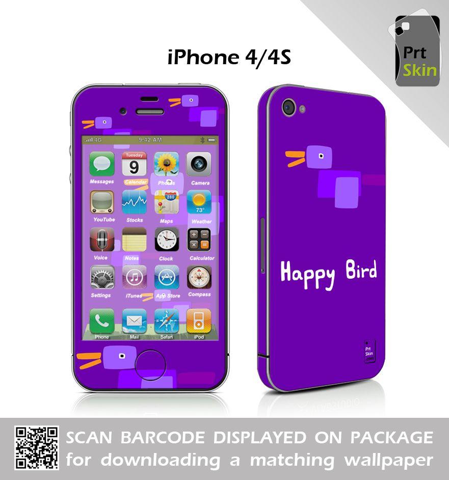 iPhone 4/4S Skin Sticker & Matching Wallpaper Happy Bird