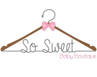 Think Cottage rooftop instead of the hanger, and on from there. Premade sewing logo, design watermark, baby clothing boutique logo,