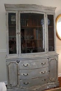 Painted And Distressed China Cabinet Distressed Furniture Diy Distressed Furniture White Washed Furniture