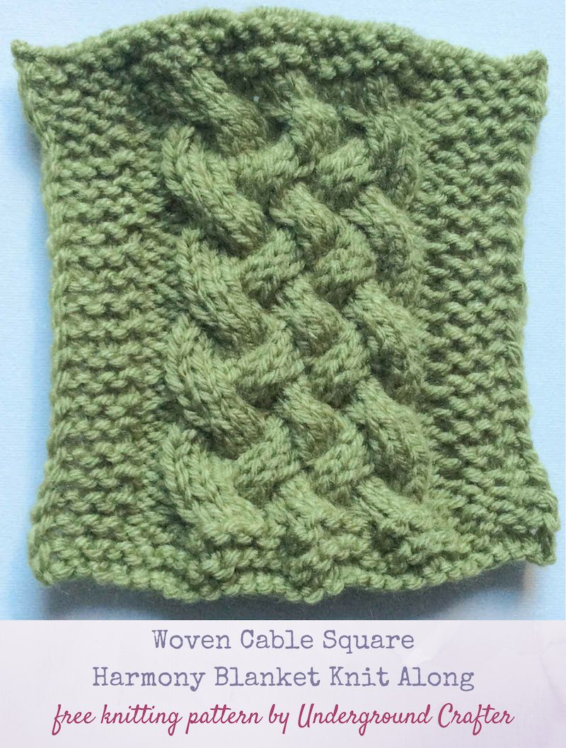 a7d07fe35 Free  knitting pattern  Woven Cable Square in Lion Brand Vanna s Choice by  Underground Crafter