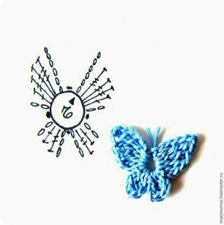 Borboleta azul passo 5 | crochet | Pinterest | Croché, Ganchillo and ...