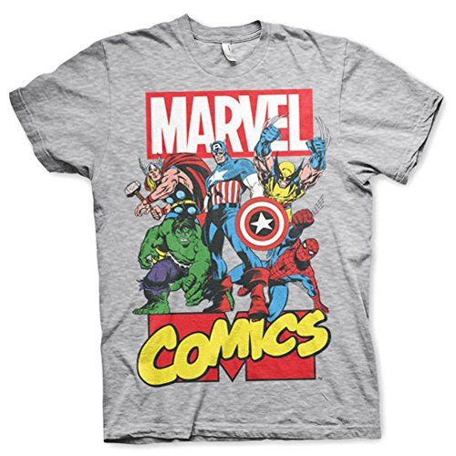 92e55040 Marvel+Comics+Retro+Shirt Products : Official Mens Marvel Comics  Superheroes Collage Grey T-Shirt - Loose Retro Hulk
