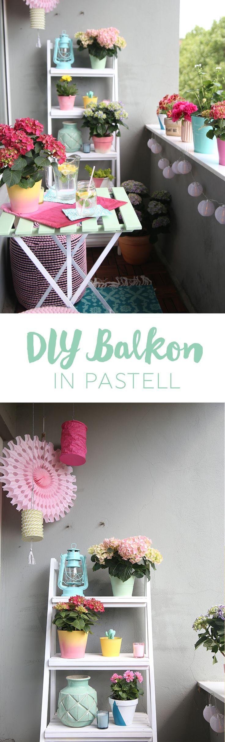 Einmal alles in Pastell, bitte! {DIY-Balkon-Umstyling mit der Gartenhortensie} | mein feenstaub #apartmentpatiogardens
