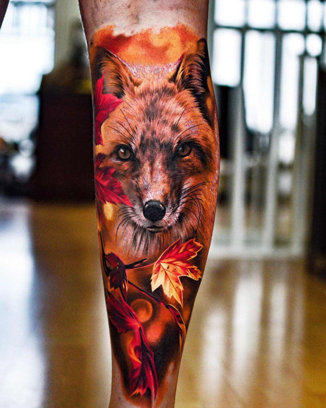 Colour Realism Leg Tattoo Realismtattoo Colourtattoo Skingiants Tattooist Tattoolove Tattooed Tatt Fox Tattoo Design Fox Tattoo Watercolor Fox Tattoos