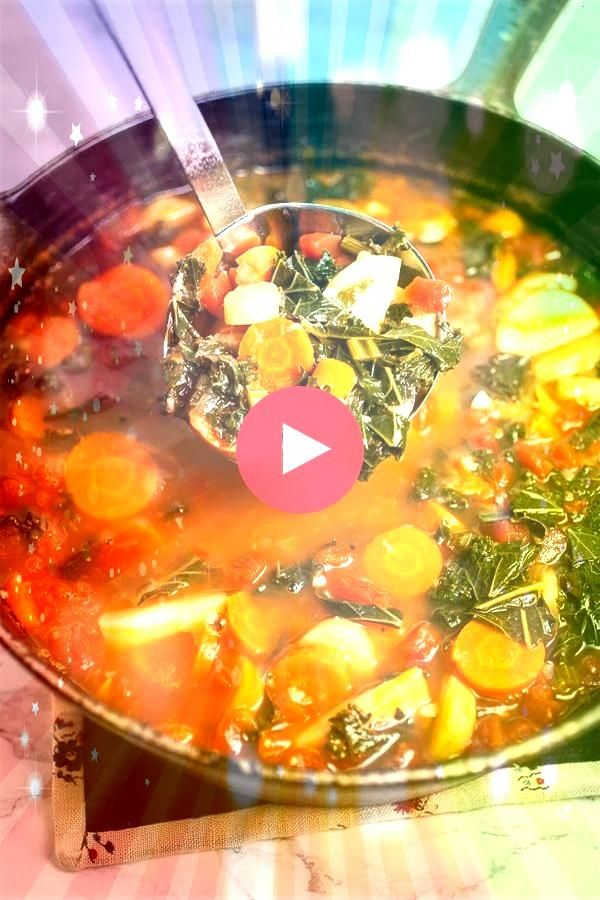 Healthy Harvest Vegetable Soup recipe is easy to make and perfect for those cooler fall and winter nights Its vegetarian vegan and gluten free This hearty old fashioned I...
