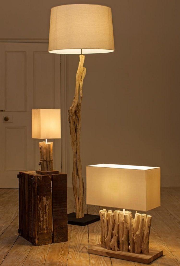 Lampe Bois Flotte Lampadaire Et Suspension Sculptes Par La Mere