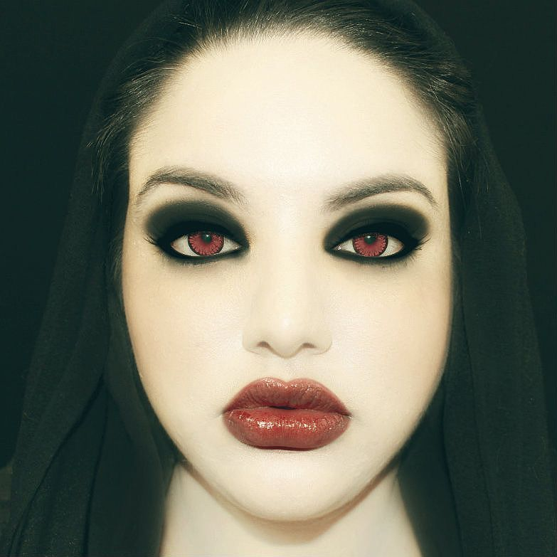 Vampire Red Contacts Black Make Up With White Face Red Lips