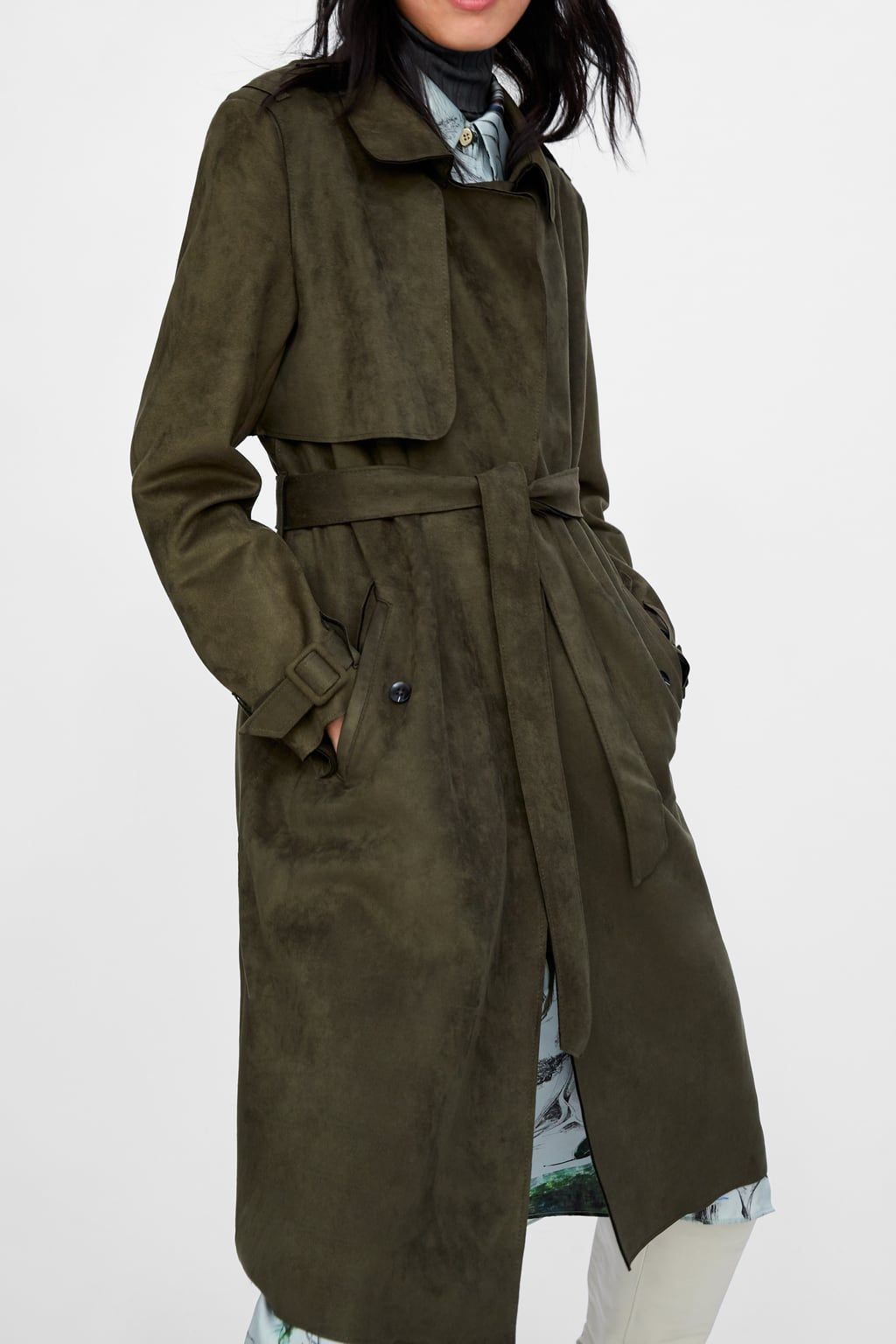 3af1492d Image 2 of FAUX SUEDE TRENCH COAT from Zara   Foliage Fashion ...