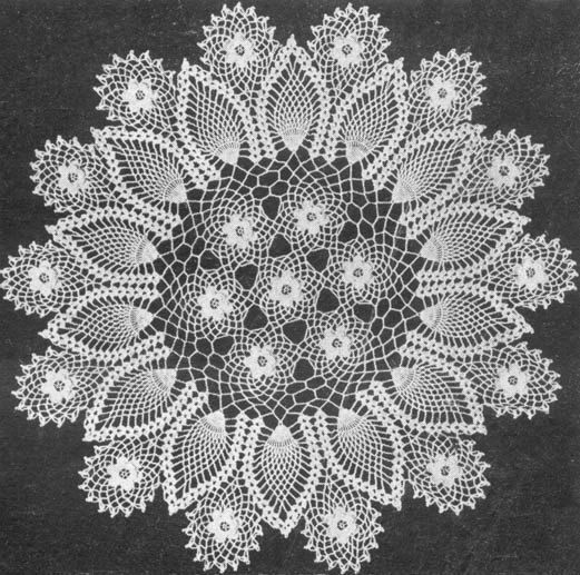 1953 Rose and Pineapple Doily Vintage Crochet Pattern PDF 195 $3.75 ...