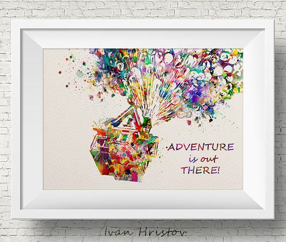 UP Colorful Quote Movie Poster inspired Watercolor Art Print Wall