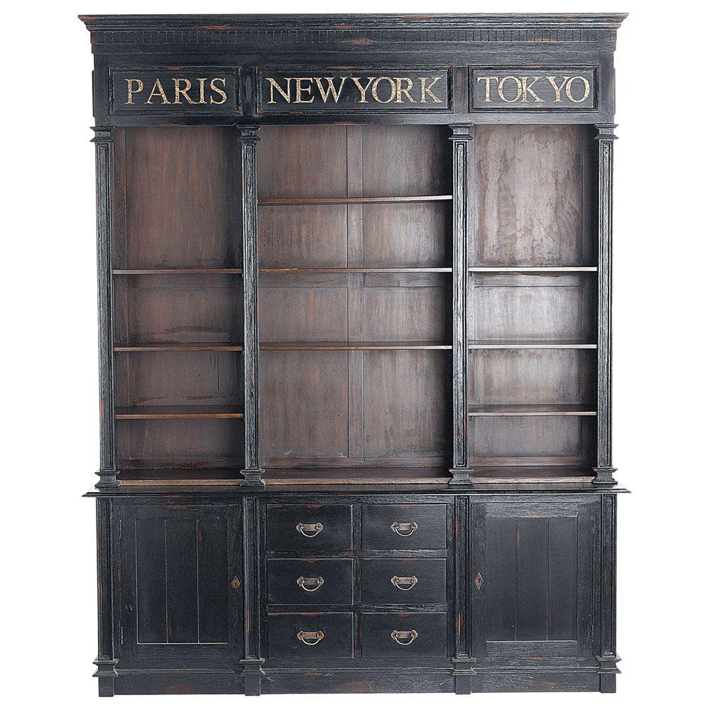 Biblioth Que En Mahogany Noire L 210 Cm Haussmann Maisons Du  # Bibliotheque Maison Du Monde