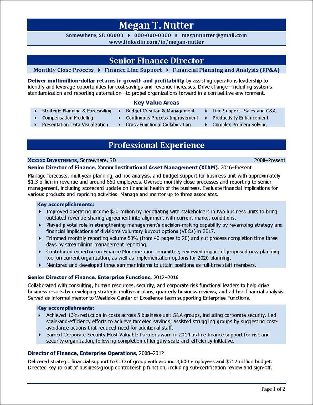 Example resume written for a senior finance director