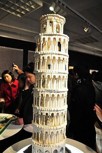 Leaning Tower of Pisa, made from Lego blocks