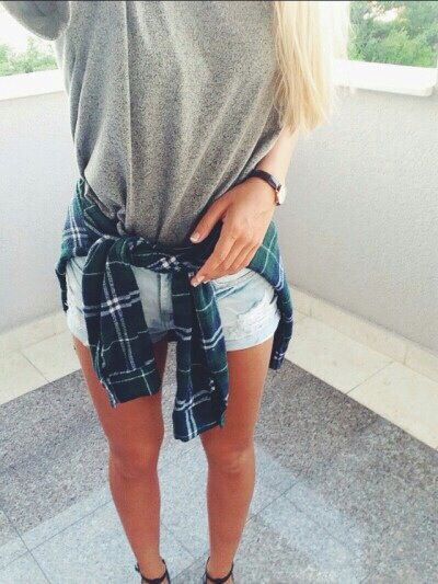 Gray shirt . Blue flannel . Light wash jean shorts . Tumblr