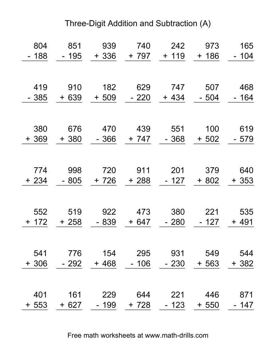 3 Number Addition Worksheet Adding And Subtracting Three Digit Numbers A Math Subtraction 2nd Grade Math Worksheets Math Subtraction Worksheets Free worksheets on adding and