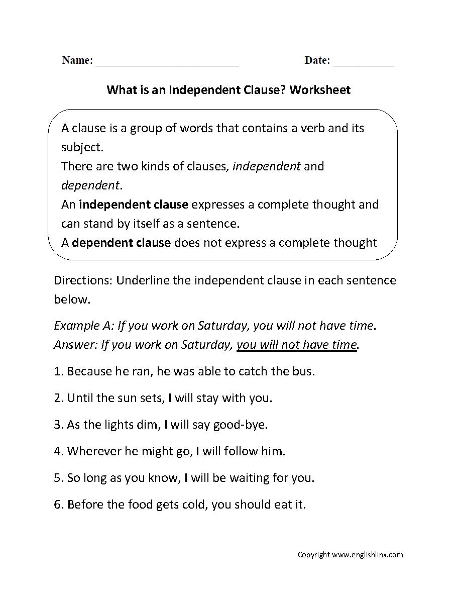 worksheet Middle School Grammar Worksheets what is and independent clause worksheet writing pinterest worksheet