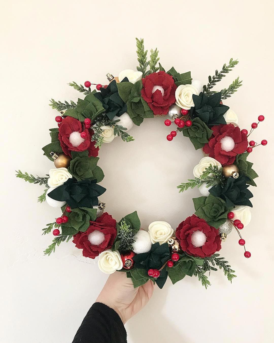 Christmas Wreaths With Lights And Timer Christmas Music Events Near Me Felt Flower Wreaths Christmas Craft Kit Christmas Crafts Diy