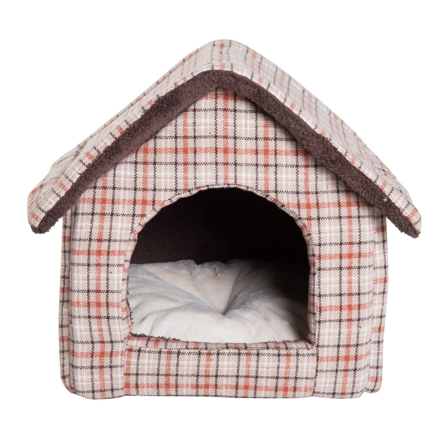 Pawhut Portable Indoor Soft Fabric Cat Dog House With Removable Cushion Medium Brown Plaid Click On The Image For Additional D Bird House Cat House Dog House