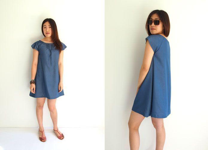 Free Japanese Sewing Pattern with Translations: Denim Smock Dress ...