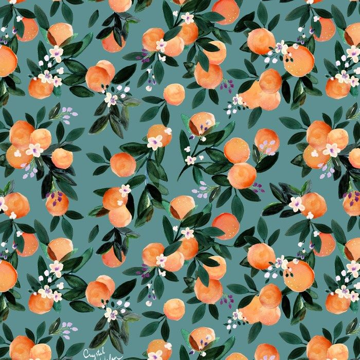 Dear Clementine - oranges teal by Crystal Walen Duvet Cover by crystalwalen
