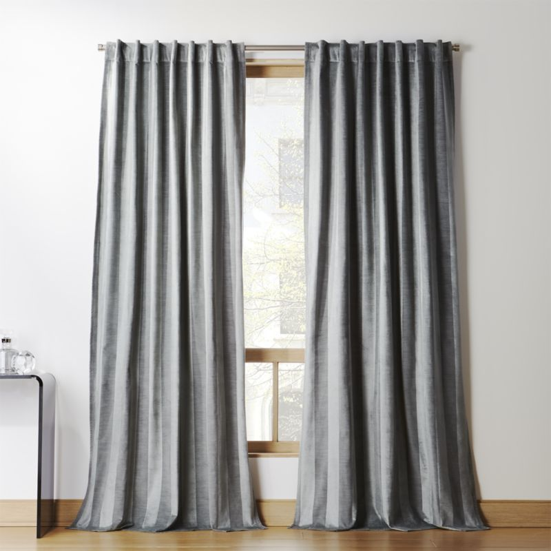 Grey Stripe Velvet Curtain Panel Velvet Curtains Curtain Styles Cheap Curtains