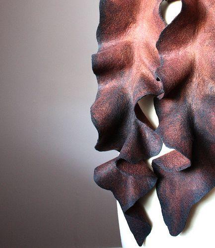 Felted wool scarf Brown burnt Black edges | VitalTemptation , Etsy | Flickr