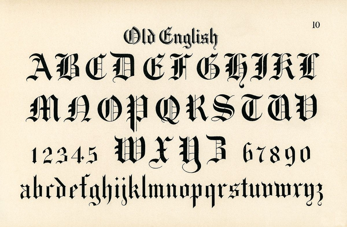 Old English calligraphy fonts from Draughtsman's Alphabets