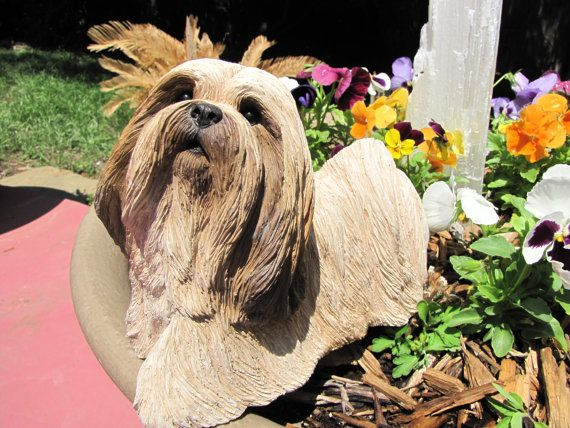 Vintage Large Dog Figurine Lhasa Apso by critterconnection on Etsy