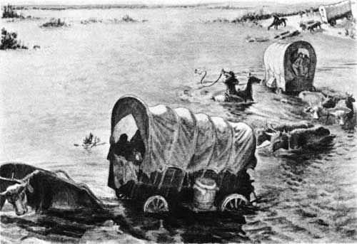 Emigrants Fording The Platte Original Sketch In Oregon Trail Museum