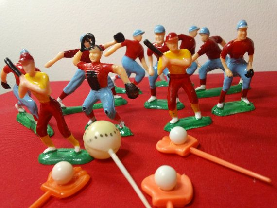 Vintage Baseball Theme Cake Toppers Set of 10 by kitschannette