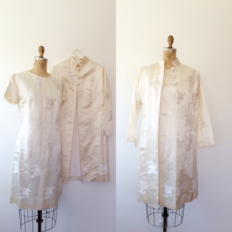 vintage wedding dress / cream silk dress / Mandarin Jacket and 60s ...