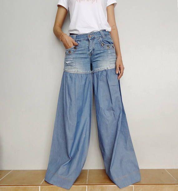 2441b4a7454 SALE Wide Legs Jeans Distressed Jeans Bell Bottom Denim Cotton Pant Unique Light  Blue(Jeans-R002).