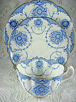 Victorian Blue And White Transferware Teacup Trio 1874 Greek