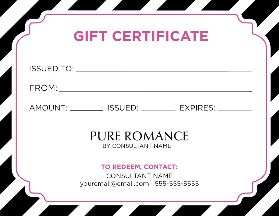Parties Are Free Stock On Hand For Private Ordering And Discree Gift Certificate Template Free Gift Certificate Template Photography Gift Certificate Template Pure romance gift certificate template