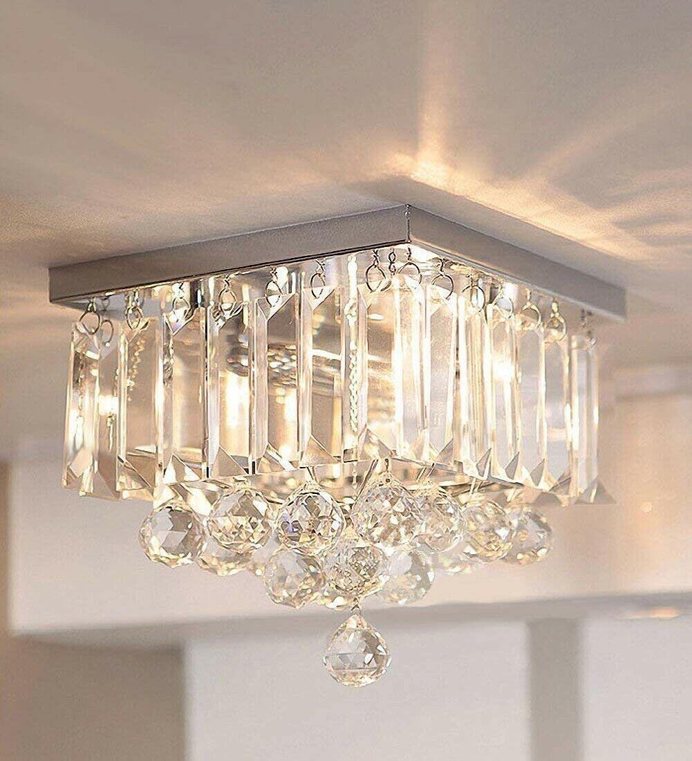 Yuldek Genuine K9 Crystal Modern Small Ceiling Flush Chandelier