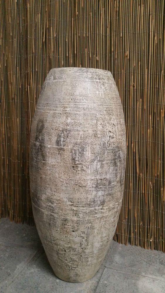 Balinese Hand MadeTerracotta Tall Garden Plant Pot Urn Antique Finish