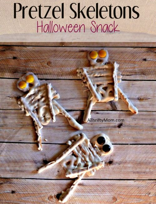 Halloween Treat Crafts Part - 24: Pretzel Skeletons, Halloween Snack, - A Thrifty Mom - Recipes, Crafts,
