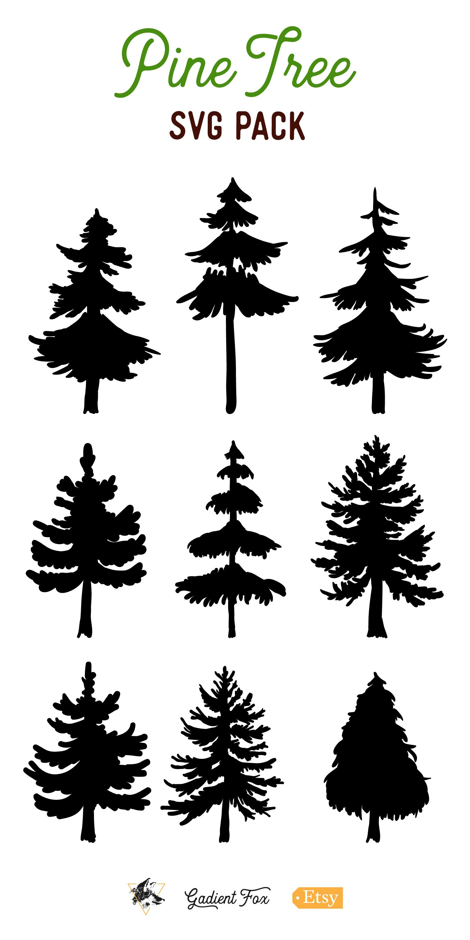 9 Vector Pine Tree Silhouette Illustrations (155339) | Illustrations | Design Bundles