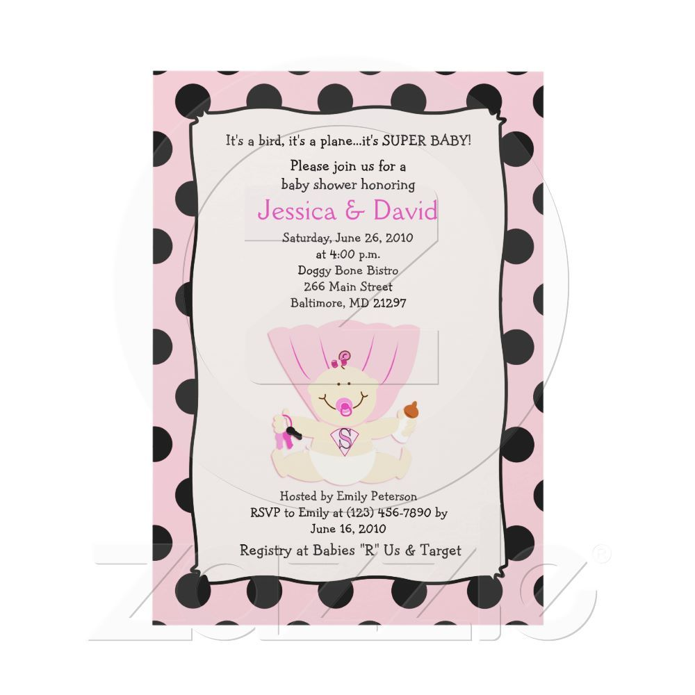 SUPER BABY GIRL Baby Shower Invitation 5x7 from Zazzle.com