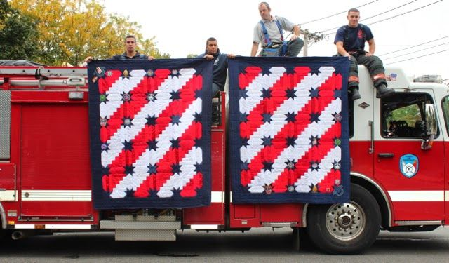Memorial Quilts by Rachael Dorr for Quilting A Memory. Made from a firefighters clothes.