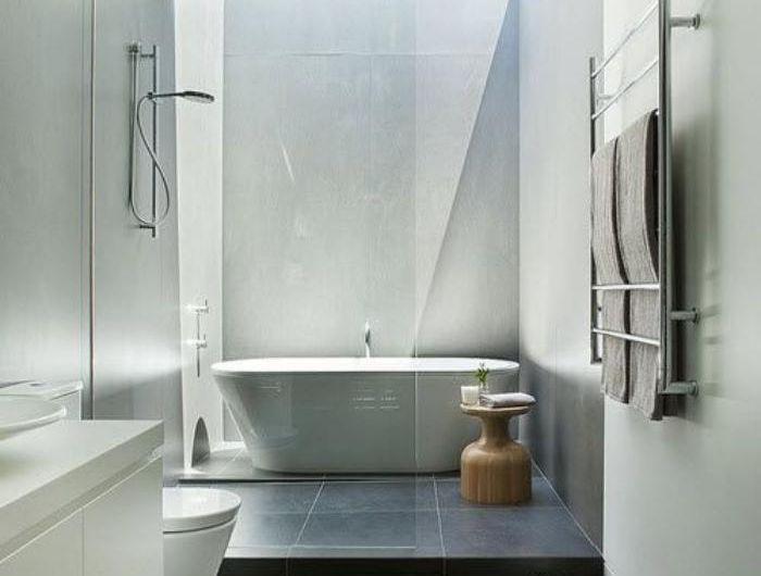 salles de bain chic qui vous montrent le beauté du carrelage gris - salle de bain carrelee