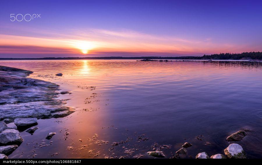 Golden Blue Sunset - stock photo