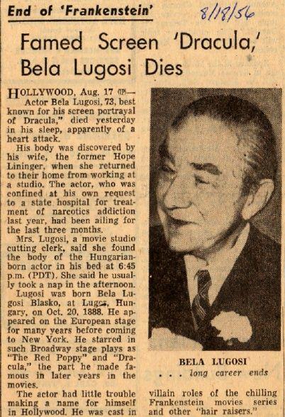 Bela Lugosi Obituaries Bela Lugosi Classic Horror Movies Old Movies