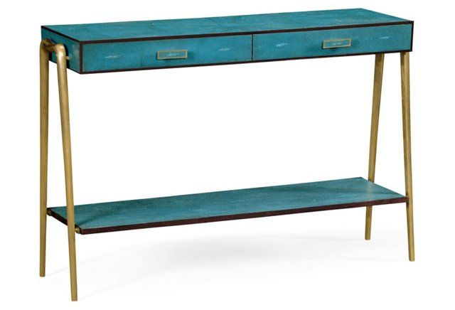 Zena Console Teal Furniture Contemporary Accent Tables Furniture Sale
