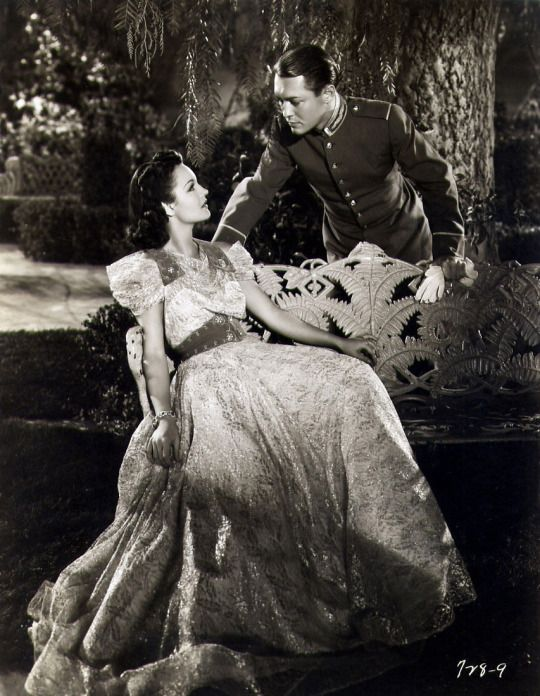 """Rochelle Hudson and Richard Cromwell in a publicity shot for """"Storm Over Bengal"""" (1938)"""