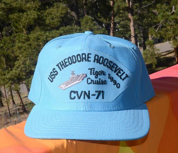 455dc858722f7e vintage 80s trucker hat USS theodore ROOSEVELT navy ship. Find this Pin and  more on Vintage Hats ...