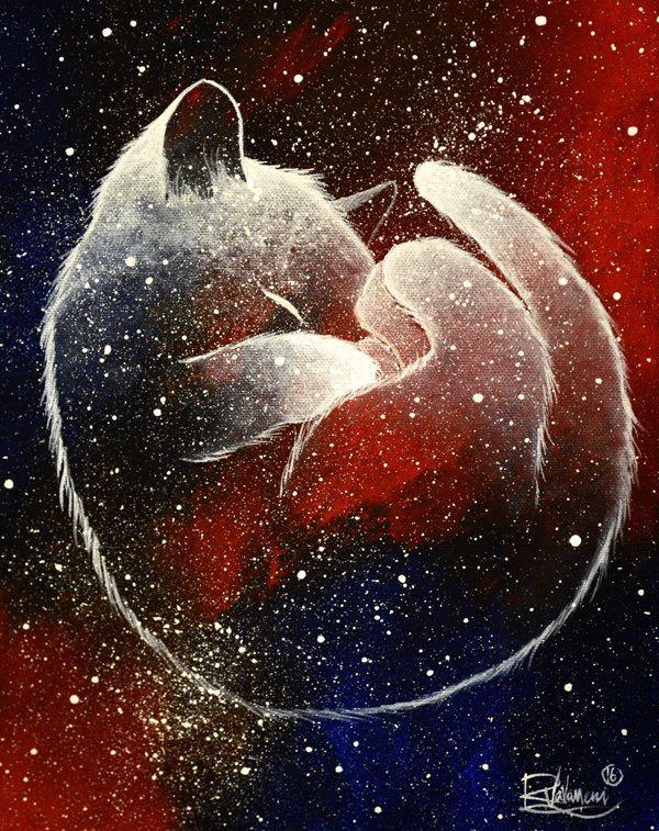 Originelle Weihnachtsbilder.Galaxy Cat Raphaël Vavasseur Peinture Originale Original